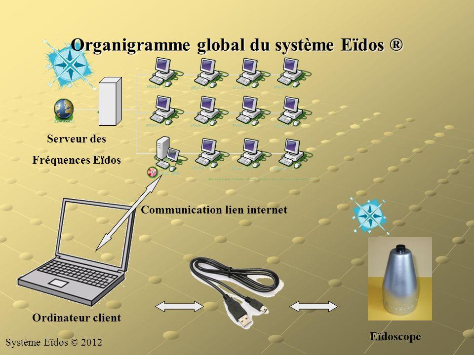 Organigramme global du système Eïdos ® Serveur des Fréquences Eïdos Eïdoscope Ordinateur client Communication lien internet Système Eïdos © 2012