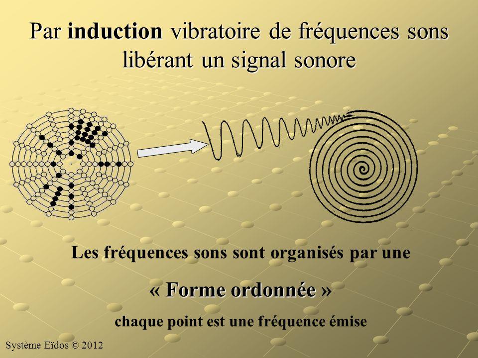 Par induction vibratoire de fréquences sons libérant un signal sonore Les fréquences sons sont organisés par une Forme ordonnée « Forme ordonnée » cha