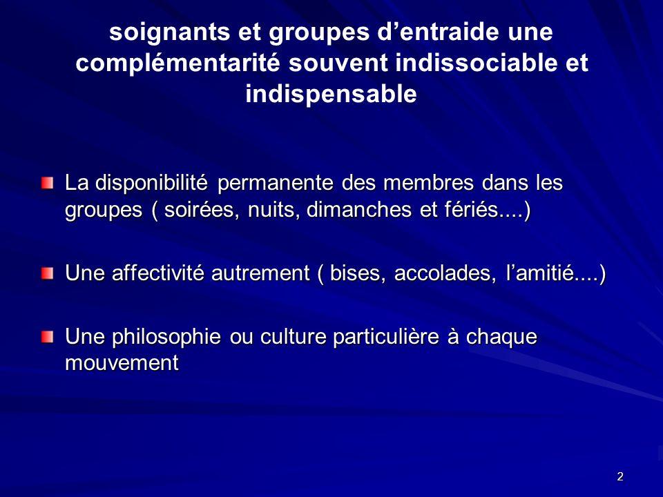 2 soignants et groupes dentraide une complémentarité souvent indissociable et indispensable La disponibilité permanente des membres dans les groupes (