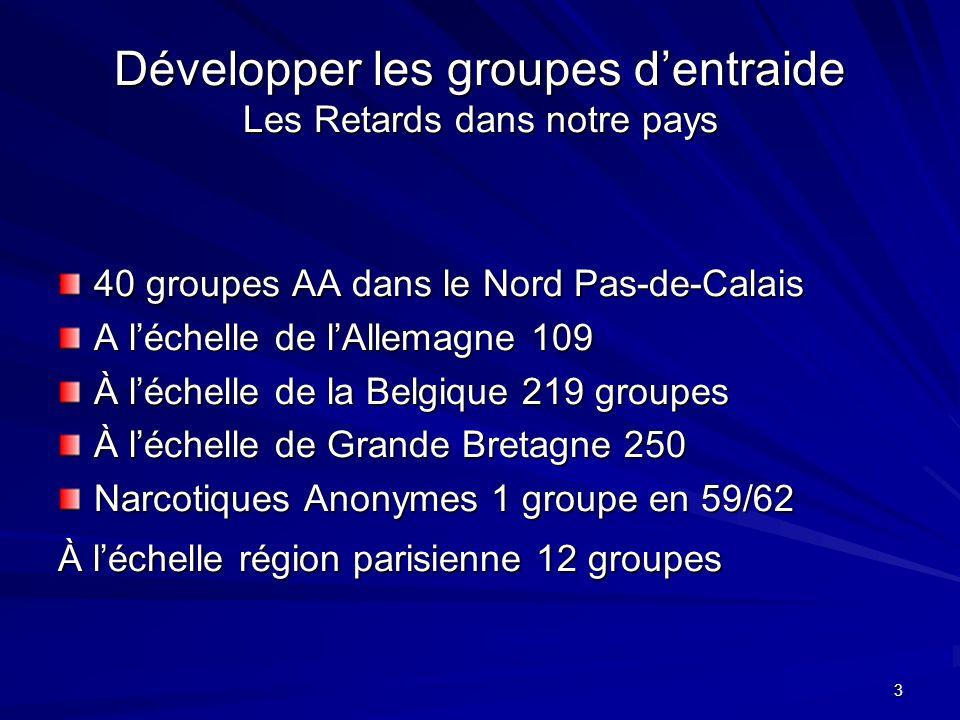 3 Développer les groupes dentraide Les Retards dans notre pays 40 groupes AA dans le Nord Pas-de-Calais A léchelle de lAllemagne 109 À léchelle de la Belgique 219 groupes À léchelle de Grande Bretagne 250 Narcotiques Anonymes 1 groupe en 59/62 À léchelle région parisienne 12 groupes