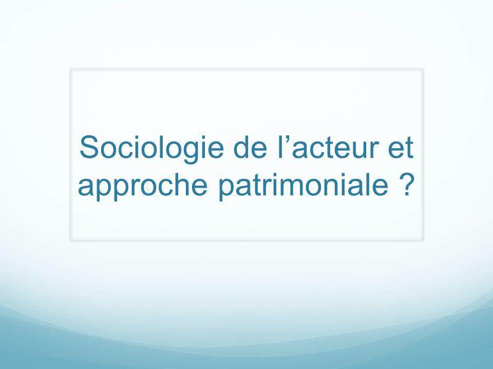 Sociologie de lacteur et approche patrimoniale ?