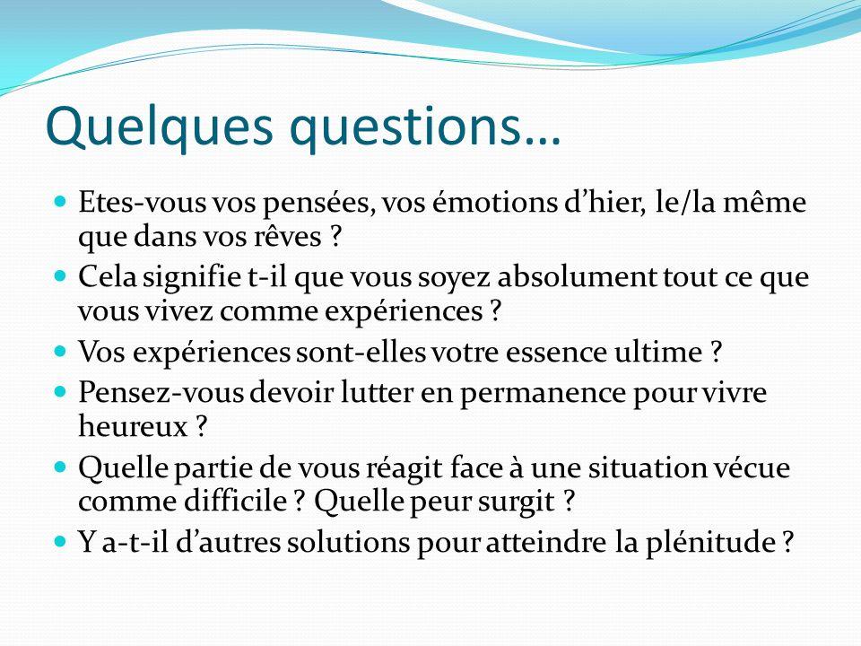 Quelques questions… Etes-vous vos pensées, vos émotions dhier, le/la même que dans vos rêves ? Cela signifie t-il que vous soyez absolument tout ce qu