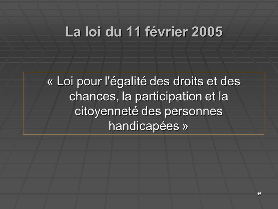 15 La loi du 11 février 2005 « Loi pour l'égalité des droits et des chances, la participation et la citoyenneté des personnes handicapées »