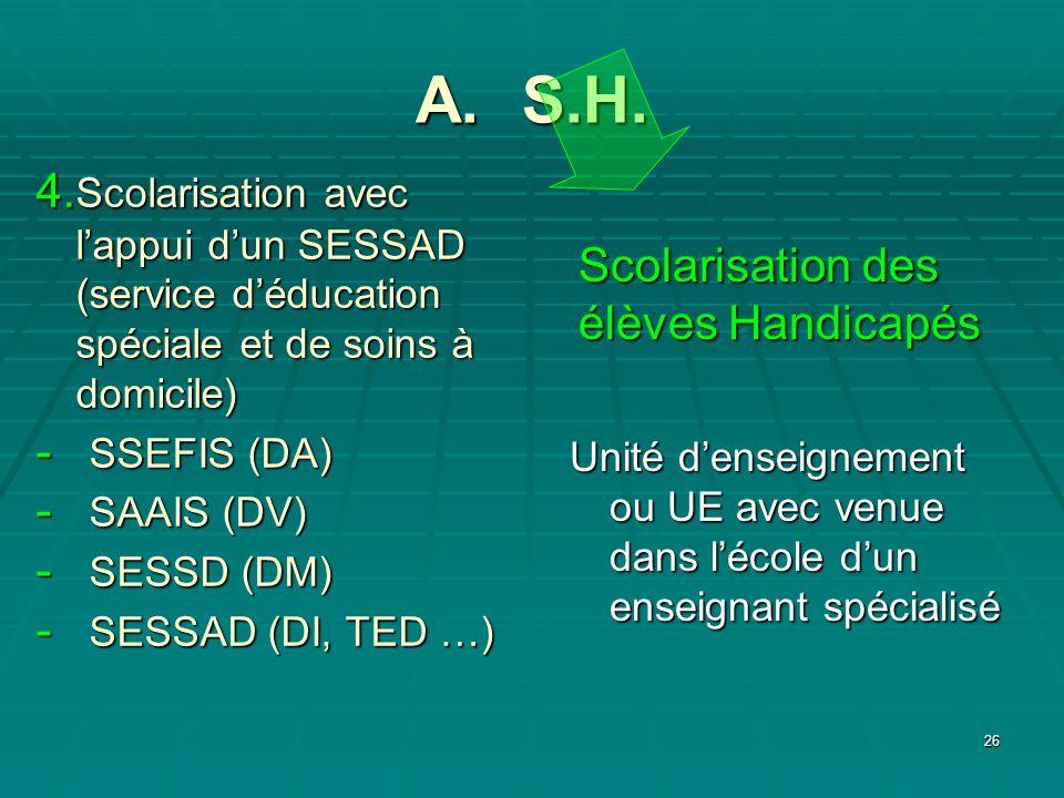 26 A. S.H. Scolarisation des élèves Handicapés 4. Scolarisation avec lappui dun SESSAD (service déducation spéciale et de soins à domicile) - SSEFIS (