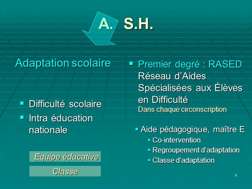 4 A. S.H. Adaptation scolaire Difficulté scolaire Difficulté scolaire Intra éducation nationale Intra éducation nationale Premier degré : RASED Réseau