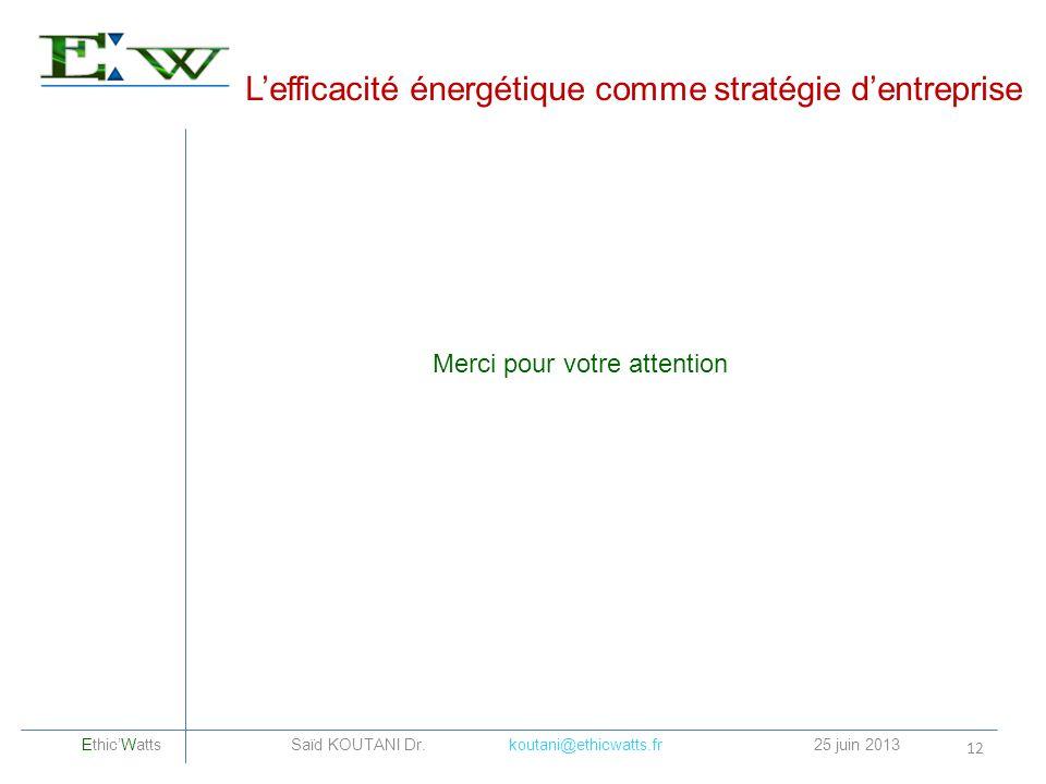 Lefficacité énergétique comme stratégie dentreprise 12 Merci pour votre attention EthicWatts Saïd KOUTANI Dr. koutani@ethicwatts.fr25 juin 2013