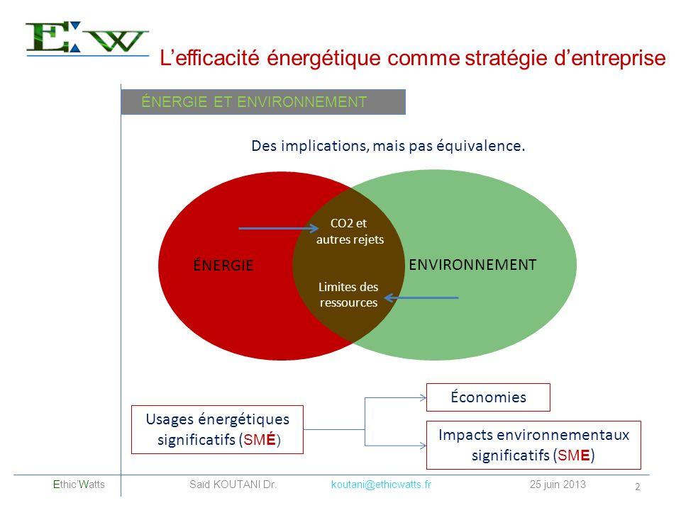 Lefficacité énergétique comme stratégie dentreprise 2 ÉNERGIE ENVIRONNEMENT CO2 et autres rejets Limites des ressources ÉNERGIE ET ENVIRONNEMENT Des i
