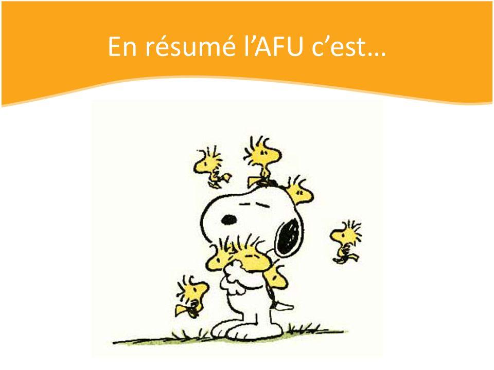 En résumé lAFU cest… Du temps Pour plein de sourires Mais surtout une bonne dose de solidarité Et beaucoup damour! De lénergie