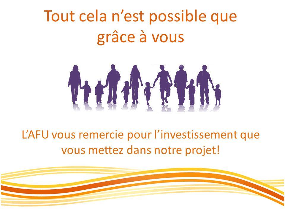 Tout cela nest possible que grâce à vous LAFU vous remercie pour linvestissement que vous mettez dans notre projet!