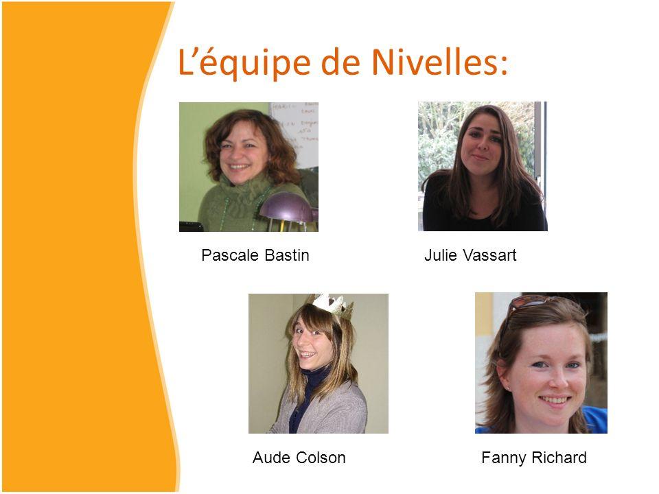 Léquipe de Nivelles: Pascale BastinJulie Vassart Aude ColsonFanny Richard