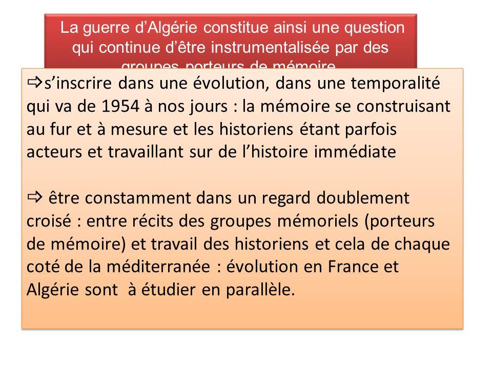 La guerre dAlgérie constitue ainsi une question qui continue dêtre instrumentalisée par des groupes porteurs de mémoire.