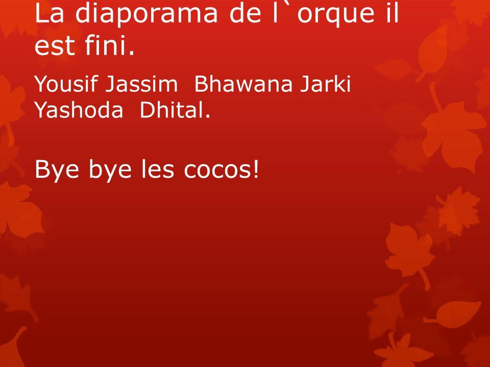 La diaporama de l`orque il est fini. Yousif Jassim Bhawana Jarki Yashoda Dhital. Bye bye les cocos!