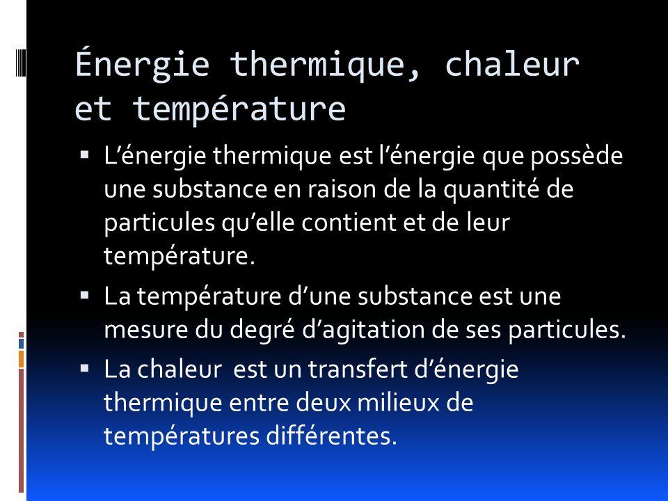 Énergie thermique, chaleur et température Lénergie thermique est lénergie que possède une substance en raison de la quantité de particules quelle contient et de leur température.