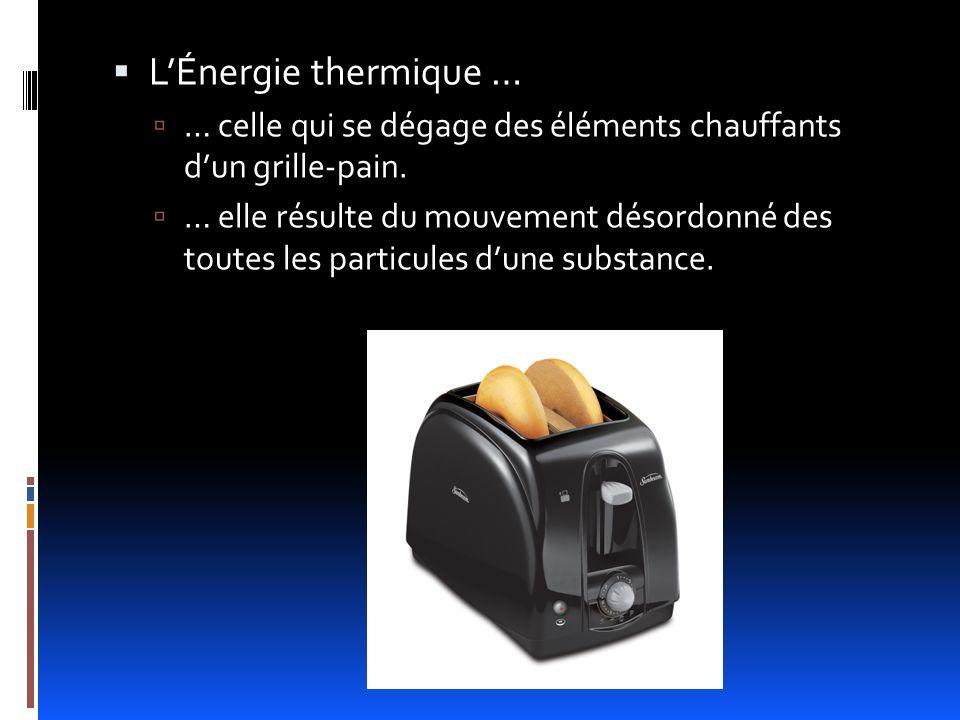 Lénergie thermique Lénergie thermique provient du mouvement désordonné des particules (atomes ou molécules) dune substance les unes par rapport aux autres.