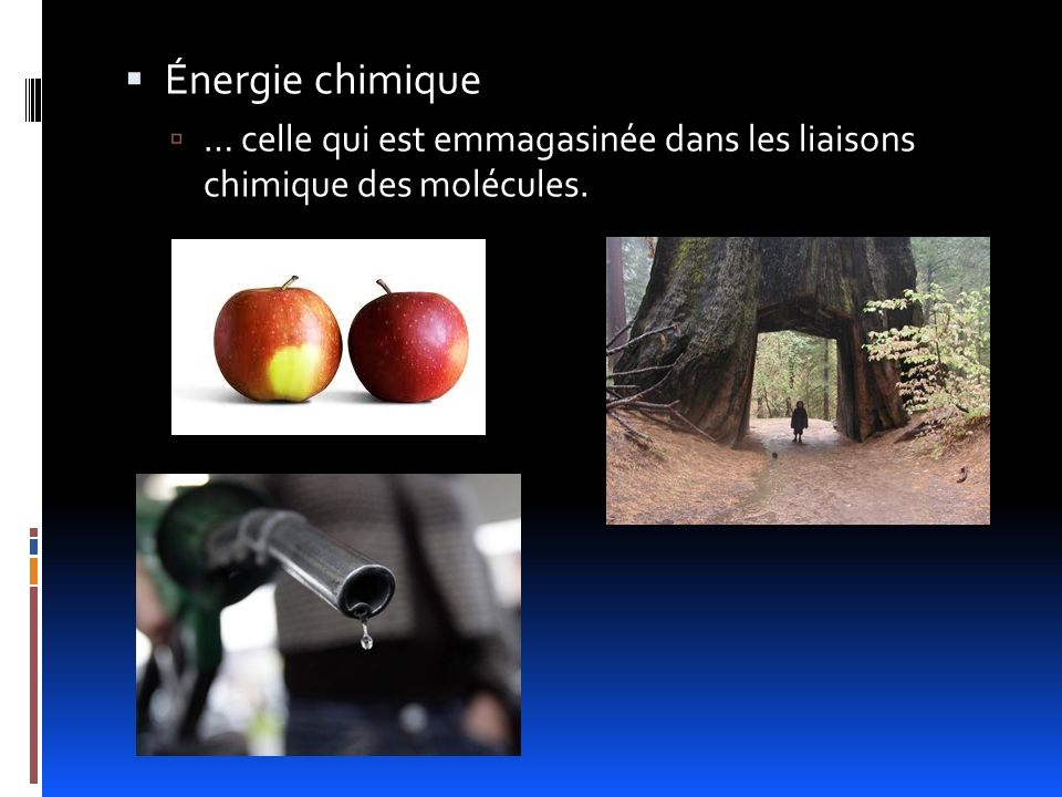 Énergie chimique … celle qui est emmagasinée dans les liaisons chimique des molécules.