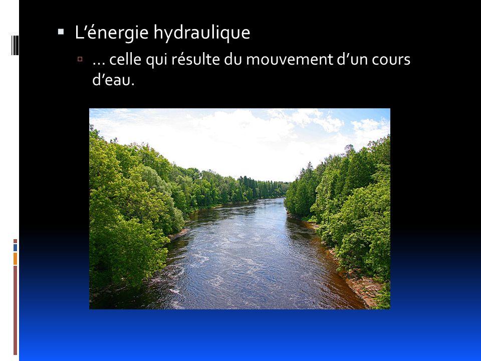 Lénergie hydraulique … celle qui résulte du mouvement dun cours deau.