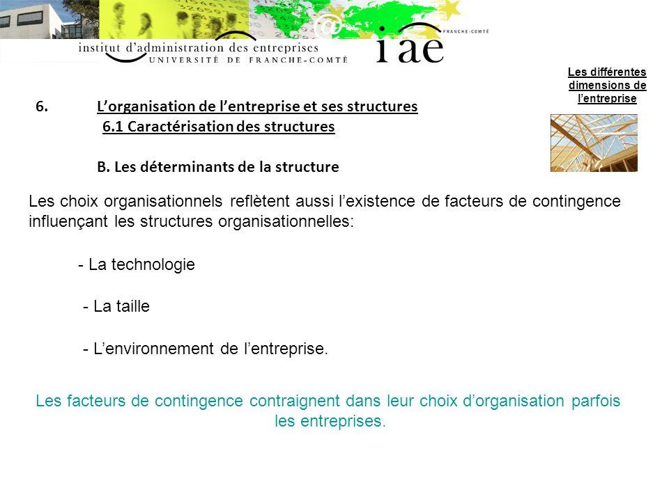 6.Lorganisation de lentreprise et ses structures 6.2 Les structures-types C.