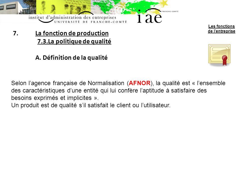 7.La fonction de production 7.3.La politique de qualité A.