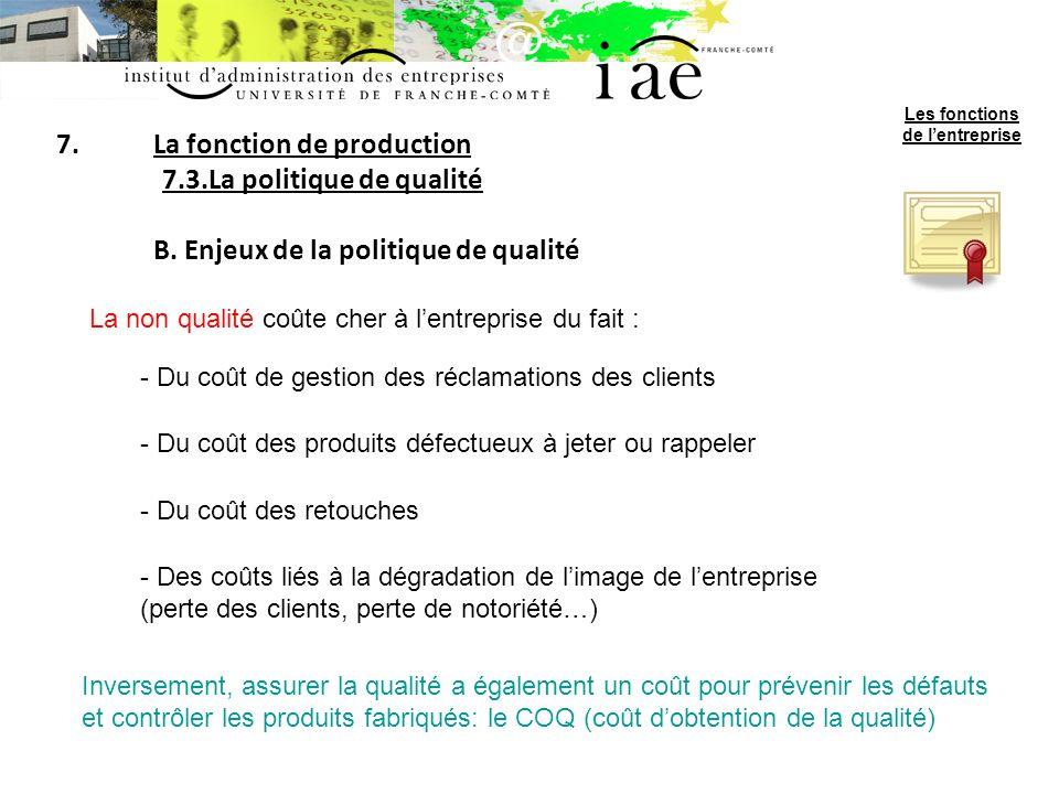 7.La fonction de production 7.3.La politique de qualité B.
