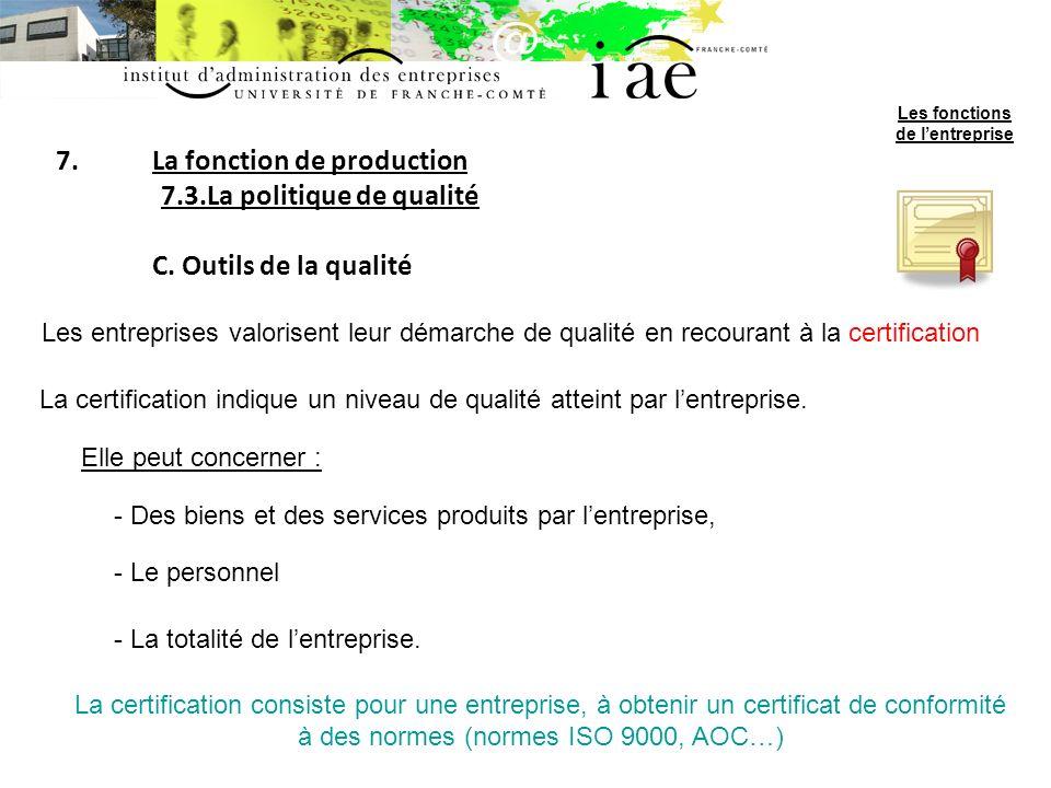 7.La fonction de production 7.3.La politique de qualité C.