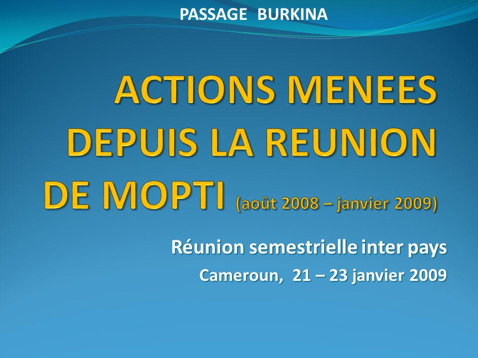 Réunion semestrielle inter pays Cameroun, 21 – 23 janvier 2009 PASSAGE BURKINA
