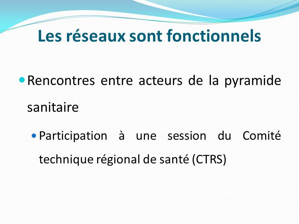 Les réseaux sont fonctionnels Rencontres entre acteurs de la pyramide sanitaire Participation à une session du Comité technique régional de santé (CTR