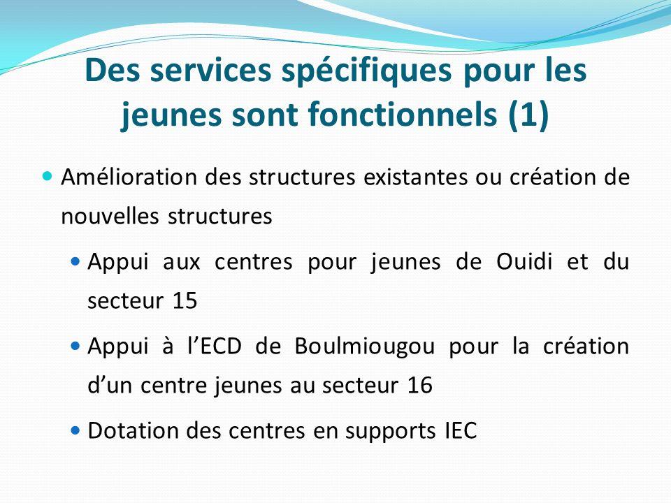 Des services spécifiques pour les jeunes sont fonctionnels (1) Amélioration des structures existantes ou création de nouvelles structures Appui aux centres pour jeunes de Ouidi et du secteur 15 Appui à lECD de Boulmiougou pour la création dun centre jeunes au secteur 16 Dotation des centres en supports IEC