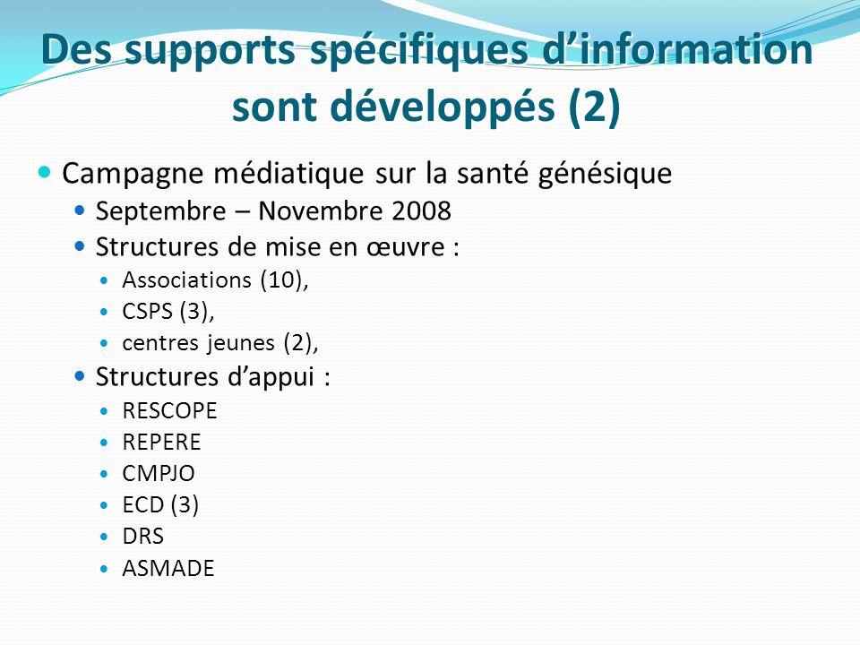 Des supports spécifiques dinformation sont développés (2) Campagne médiatique sur la santé génésique Septembre – Novembre 2008 Structures de mise en œ