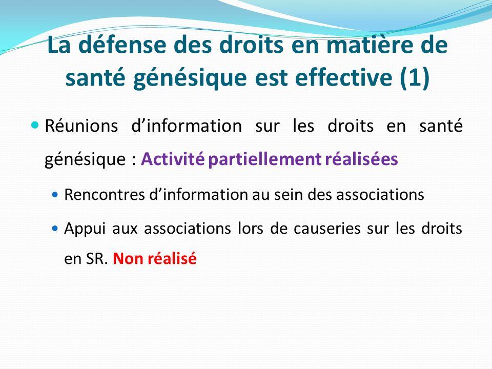La défense des droits en matière de santé génésique est effective (1) Réunions dinformation sur les droits en santé génésique : Activité partiellement