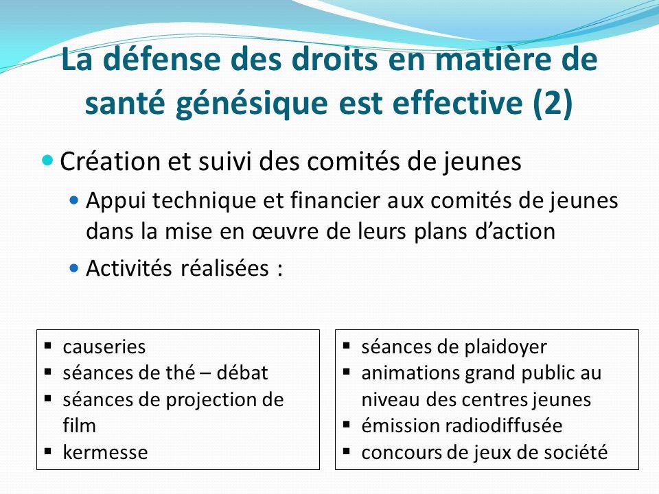 La défense des droits en matière de santé génésique est effective (2) Création et suivi des comités de jeunes Appui technique et financier aux comités
