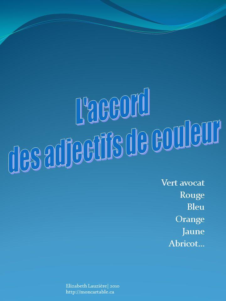 Vert avocat Rouge Bleu Orange Jaune Abricot… Elizabeth Lauzière| 2010 http://moncartable.ca