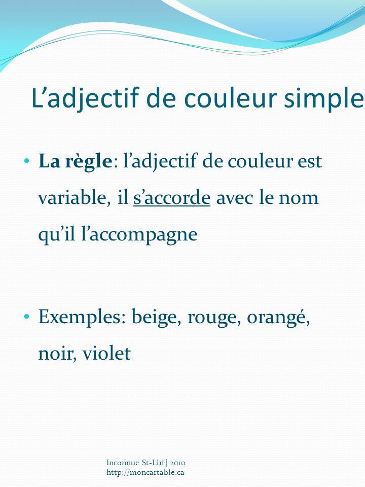 Ladjectif de couleur simple La règle: ladjectif de couleur est variable, il saccorde avec le nom quil laccompagne Exemples: beige, rouge, orangé, noir