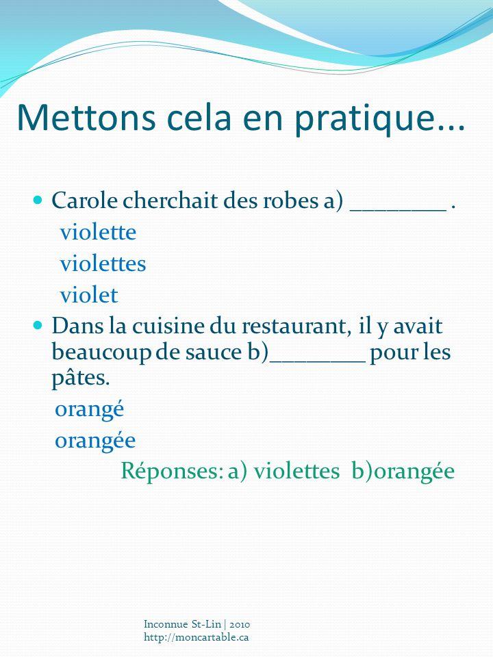 Mettons cela en pratique... Carole cherchait des robes a) ________. violette violettes violet Dans la cuisine du restaurant, il y avait beaucoup de sa