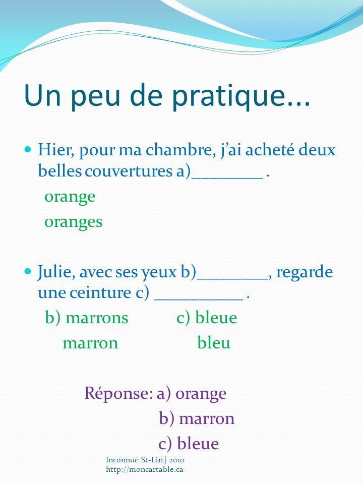 Un peu de pratique... Hier, pour ma chambre, jai acheté deux belles couvertures a)________. orange oranges Julie, avec ses yeux b)________, regarde un