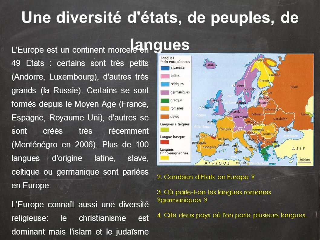 L'Europe est un continent morcelé en 49 Etats : certains sont très petits (Andorre, Luxembourg), d'autres très grands (la Russie). Certains se sont fo