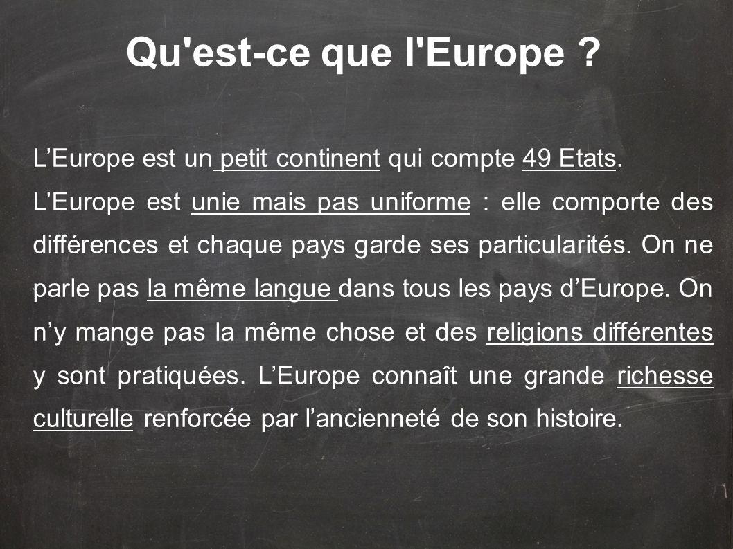 LEurope est un petit continent qui compte 49 Etats. LEurope est unie mais pas uniforme : elle comporte des différences et chaque pays garde ses partic