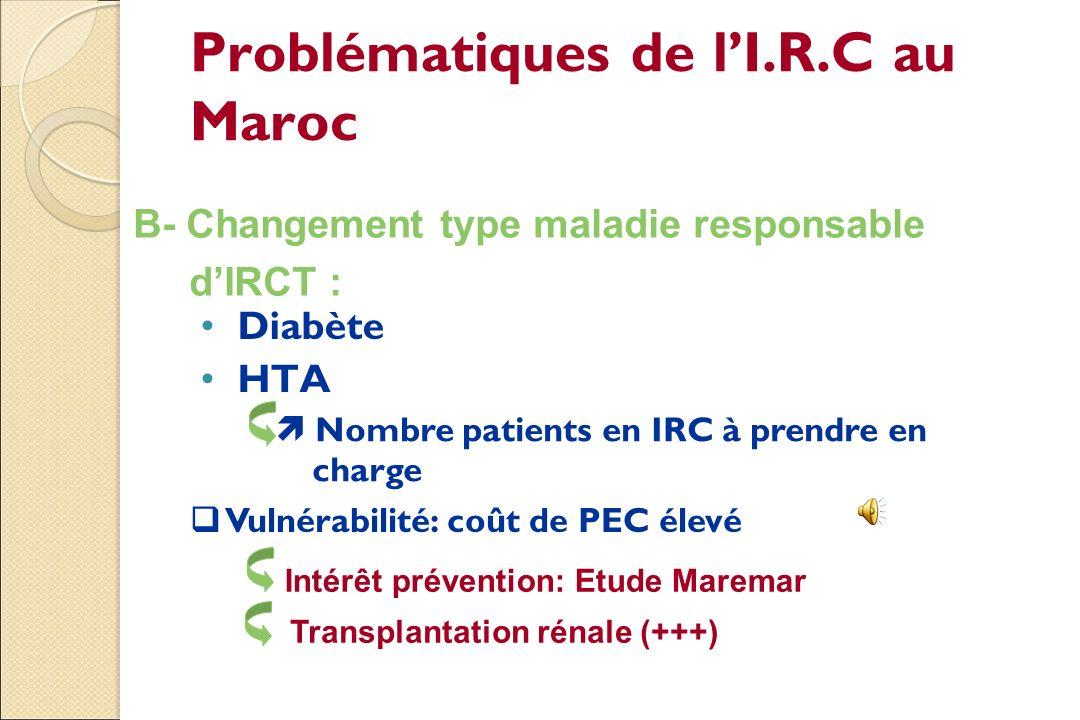 Problématiques de lI.R.C.T au Maroc Ouverture des centres de dialyse P.e.c / Ministère de santé Elargissement couverture sociale ~ 40% Registre maroca