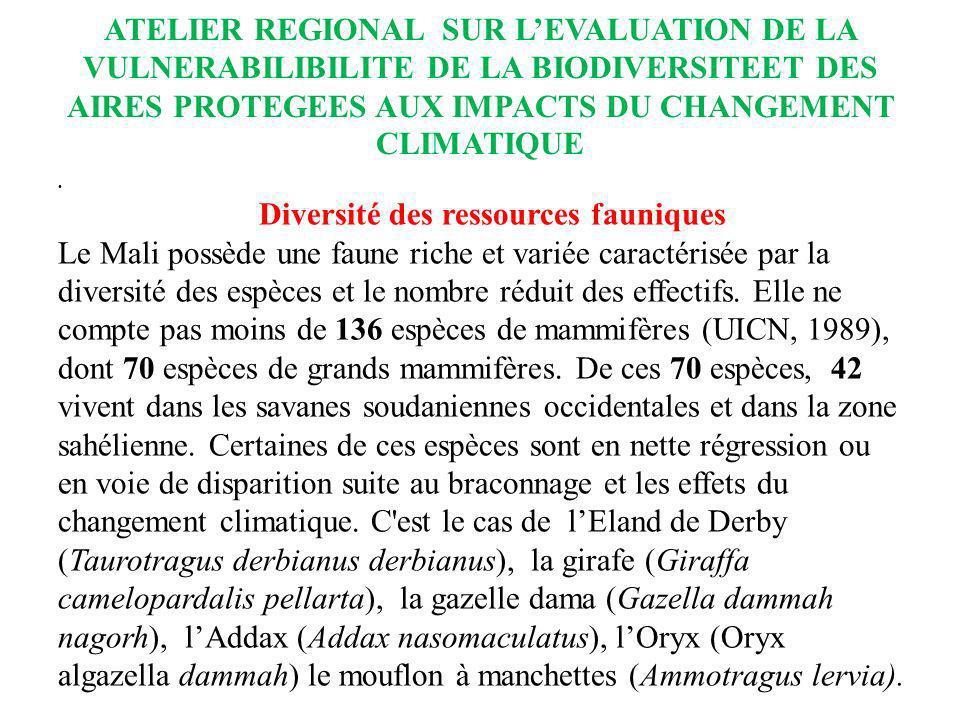 ATELIER REGIONAL SUR LEVALUATION DE LA VULNERABILIBILITE DE LA BIODIVERSITEET DES AIRES PROTEGEES AUX IMPACTS DU CHANGEMENT CLIMATIQUE Diversité des r