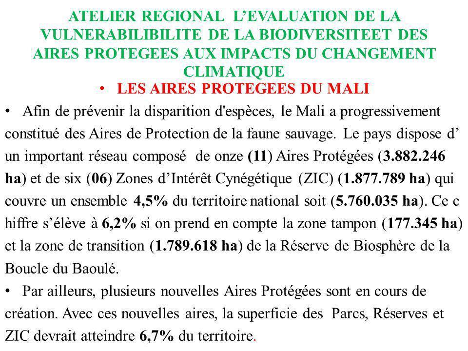 ATELIER REGIONAL LEVALUATION DE LA VULNERABILIBILITE DE LA BIODIVERSITEET DES AIRES PROTEGEES AUX IMPACTS DU CHANGEMENT CLIMATIQUE LES AIRES PROTEGEES