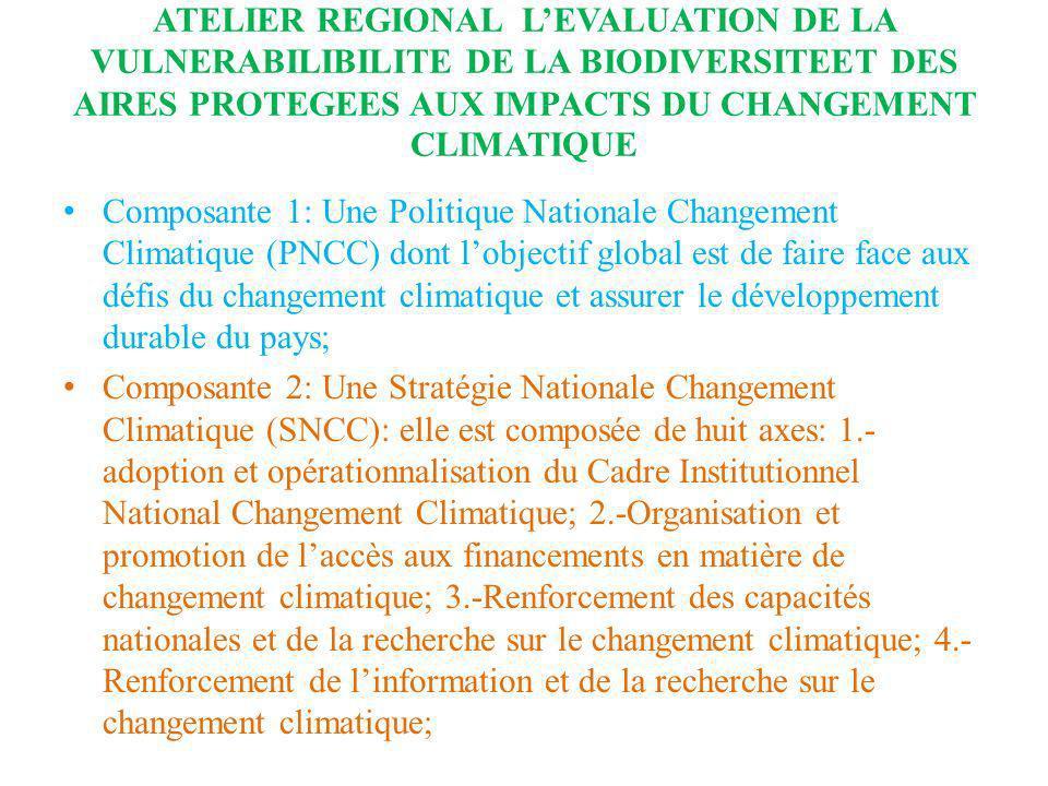 ATELIER REGIONAL LEVALUATION DE LA VULNERABILIBILITE DE LA BIODIVERSITEET DES AIRES PROTEGEES AUX IMPACTS DU CHANGEMENT CLIMATIQUE Composante 1: Une P