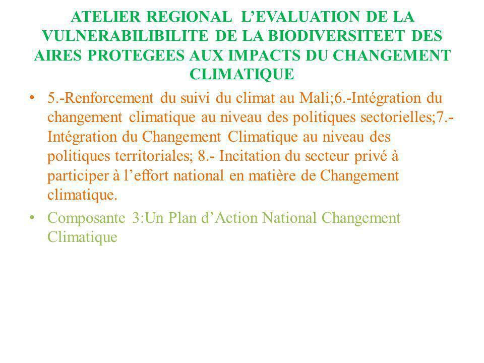 ATELIER REGIONAL LEVALUATION DE LA VULNERABILIBILITE DE LA BIODIVERSITEET DES AIRES PROTEGEES AUX IMPACTS DU CHANGEMENT CLIMATIQUE 5.-Renforcement du