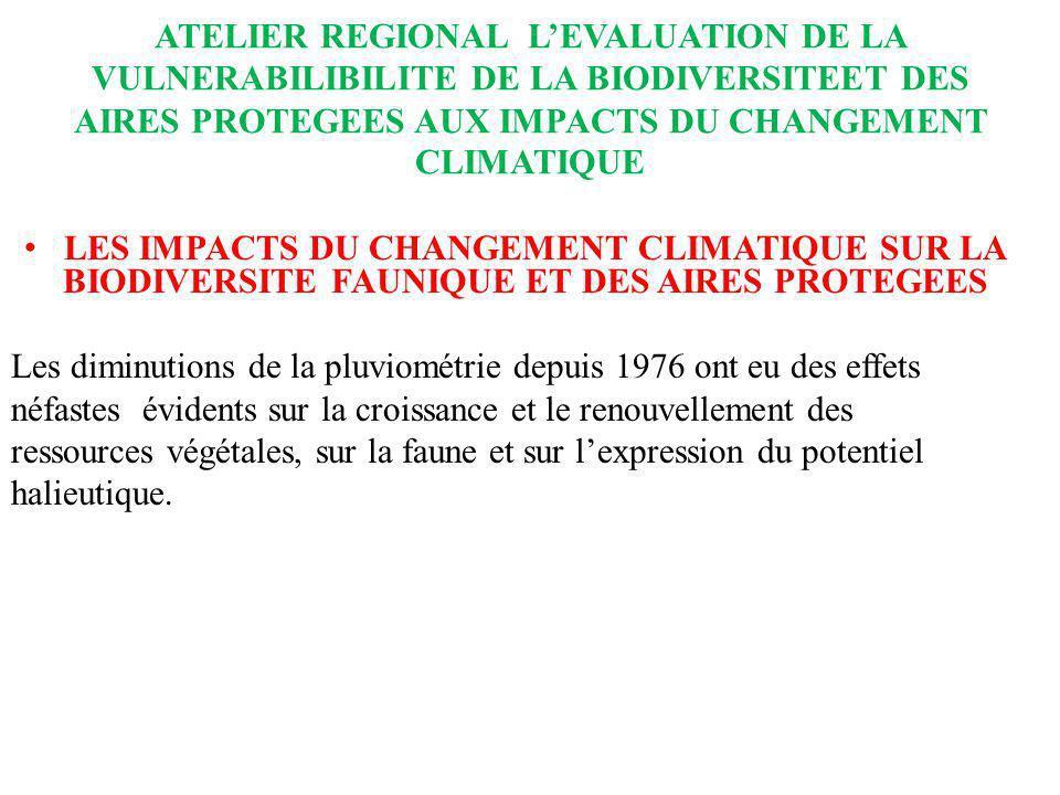 ATELIER REGIONAL LEVALUATION DE LA VULNERABILIBILITE DE LA BIODIVERSITEET DES AIRES PROTEGEES AUX IMPACTS DU CHANGEMENT CLIMATIQUE LES IMPACTS DU CHAN