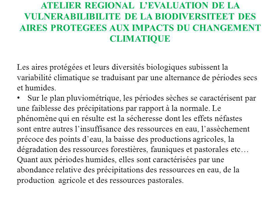 ATELIER REGIONAL LEVALUATION DE LA VULNERABILIBILITE DE LA BIODIVERSITEET DES AIRES PROTEGEES AUX IMPACTS DU CHANGEMENT CLIMATIQUE Les aires protégées