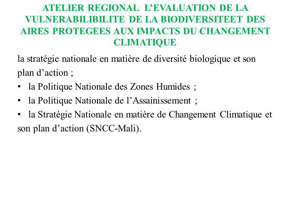 ATELIER REGIONAL LEVALUATION DE LA VULNERABILIBILITE DE LA BIODIVERSITEET DES AIRES PROTEGEES AUX IMPACTS DU CHANGEMENT CLIMATIQUE la stratégie nation
