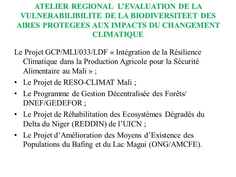 ATELIER REGIONAL LEVALUATION DE LA VULNERABILIBILITE DE LA BIODIVERSITEET DES AIRES PROTEGEES AUX IMPACTS DU CHANGEMENT CLIMATIQUE Le Projet GCP/MLI/0
