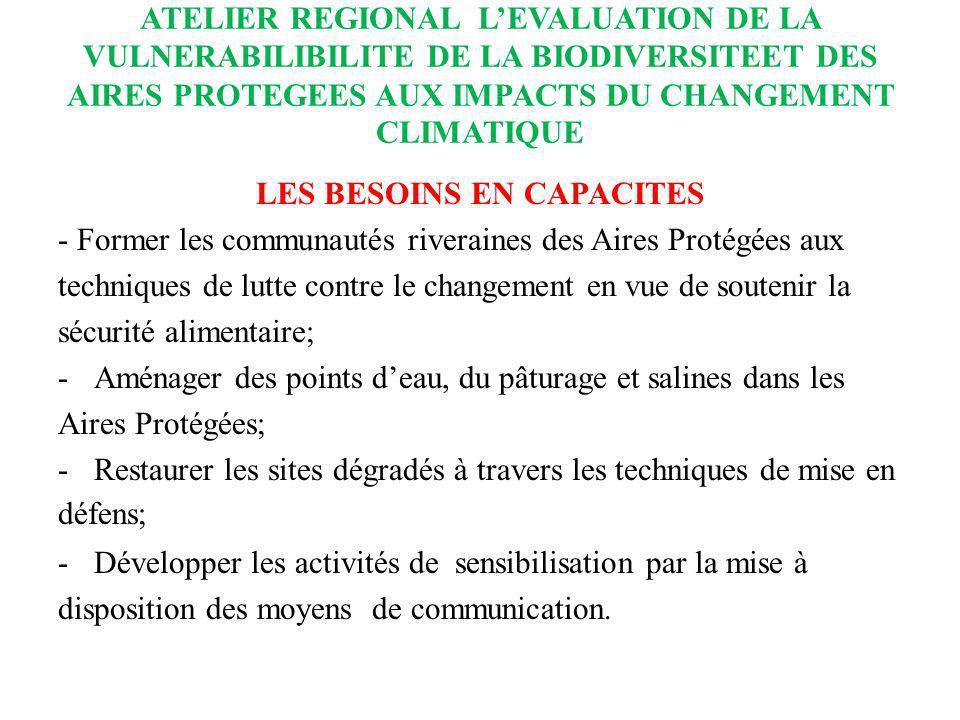 ATELIER REGIONAL LEVALUATION DE LA VULNERABILIBILITE DE LA BIODIVERSITEET DES AIRES PROTEGEES AUX IMPACTS DU CHANGEMENT CLIMATIQUE LES BESOINS EN CAPA
