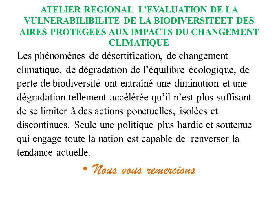ATELIER REGIONAL LEVALUATION DE LA VULNERABILIBILITE DE LA BIODIVERSITEET DES AIRES PROTEGEES AUX IMPACTS DU CHANGEMENT CLIMATIQUE Les phénomènes de d