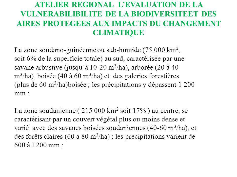 ATELIER REGIONAL LEVALUATION DE LA VULNERABILIBILITE DE LA BIODIVERSITEET DES AIRES PROTEGEES AUX IMPACTS DU CHANGEMENT CLIMATIQUE La zone sahélienne (320 000 km 2 soit 26%) dans le nord ou les précipitations sont de 200 à 600 mm, domaine des steppes herbeuses parsemées dépineux à faible production ligneuse, moins de 10m 3 /ha; La zone saharienne (632 000 km 2 soit 51% ) qui couvre toute la région septentrionale avec une production ligneuse insignifiante voire nulle ou les précipitations natteignent pas 200 mm ; Le Delta Intérieur du fleuve Niger (30.000 Km², caractérisé par ses vastes zones dinondation et ses écosystèmes d intérêt mondial) appartenant aux écosystèmes deau douce avec des prairies herbeuses ponctuées darbres épars et de petits massifs ligneux.