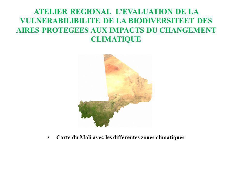 ATELIER REGIONAL LEVALUATION DE LA VULNERABILIBILITE DE LA BIODIVERSITEET DES AIRES PROTEGEES AUX IMPACTS DU CHANGEMENT CLIMATIQUE PROBLEMATIQUES DU CHANGEMENT CLIMATIQUE En tant que pays sahélien, le changement climatique constitue un défi majeur pour le Mali.
