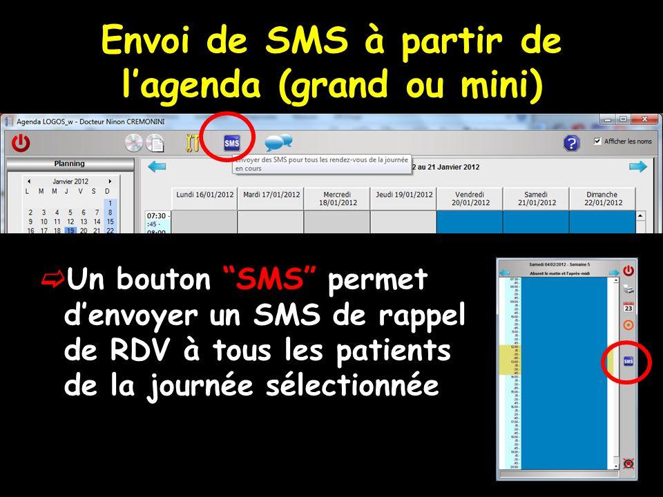 Envoi de SMS à partir de lagenda (grand ou mini) Un bouton SMS permet denvoyer un SMS de rappel de RDV à tous les patients de la journée sélectionnée